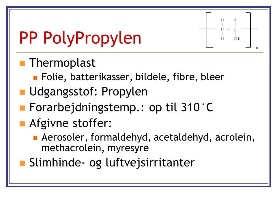 PP PolyPropylen Thermoplast Udgangsstof: Propylen