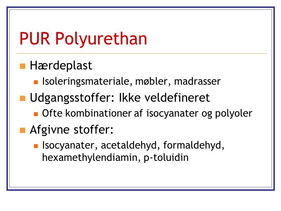 PUR Polyurethan Hærdeplast Udgangsstoffer: Ikke veldefineret