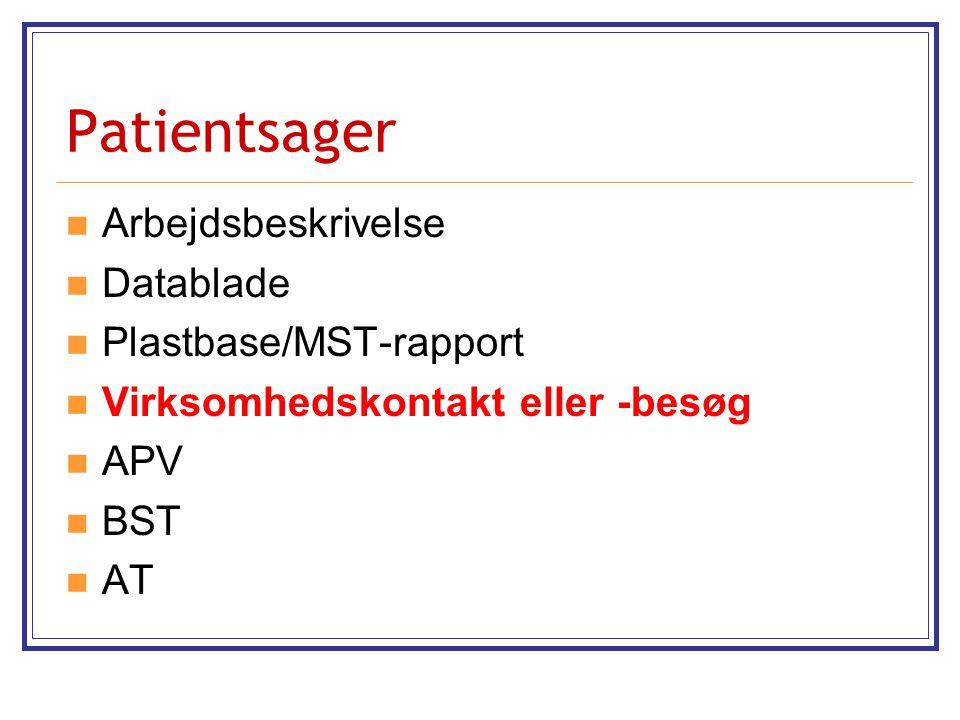 Patientsager Arbejdsbeskrivelse Datablade Plastbase/MST-rapport