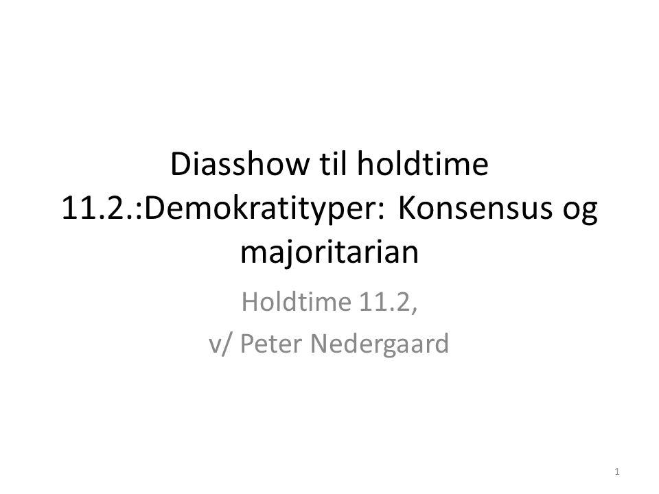 Diasshow til holdtime 11.2.:Demokratityper: Konsensus og majoritarian