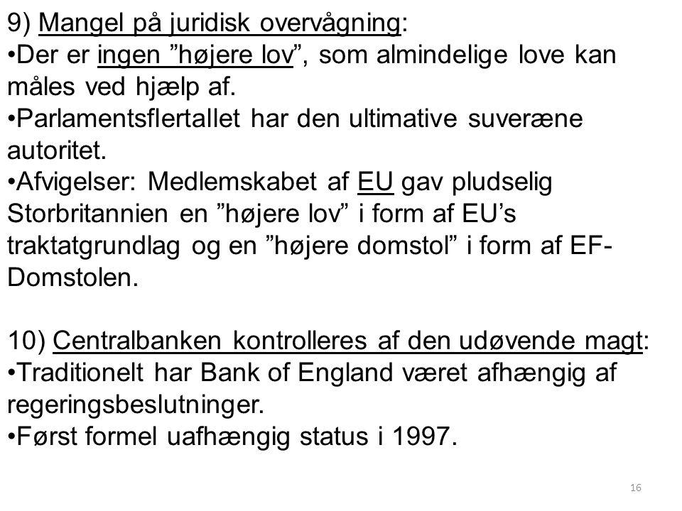 9) Mangel på juridisk overvågning: