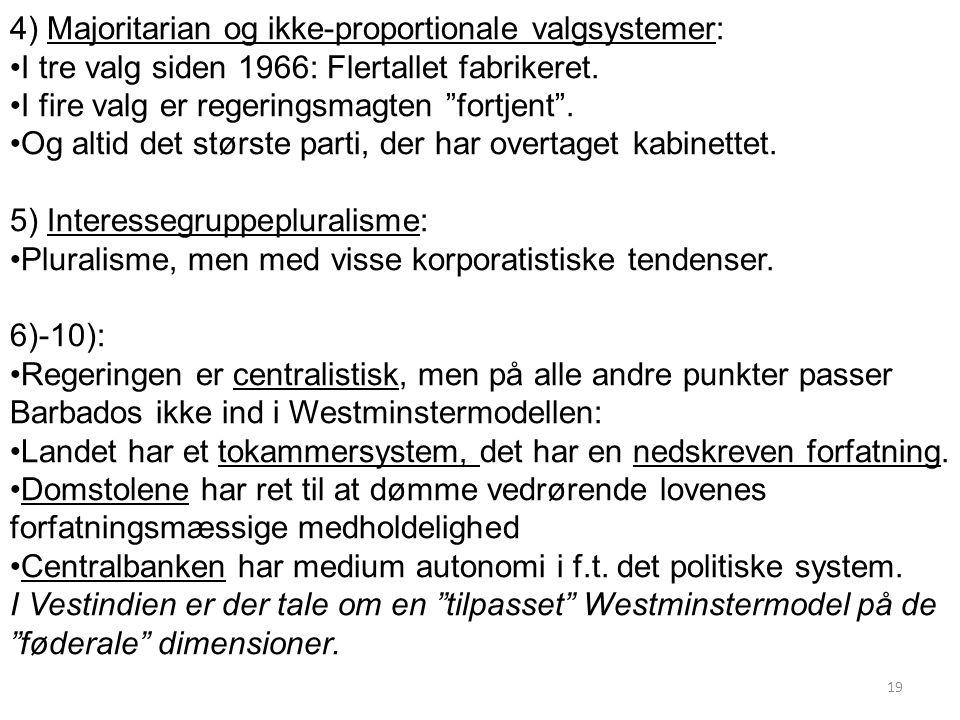 4) Majoritarian og ikke-proportionale valgsystemer: