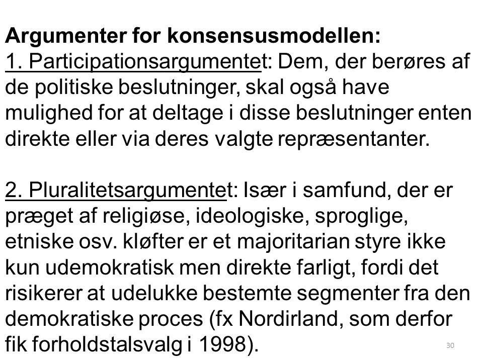 Argumenter for konsensusmodellen: