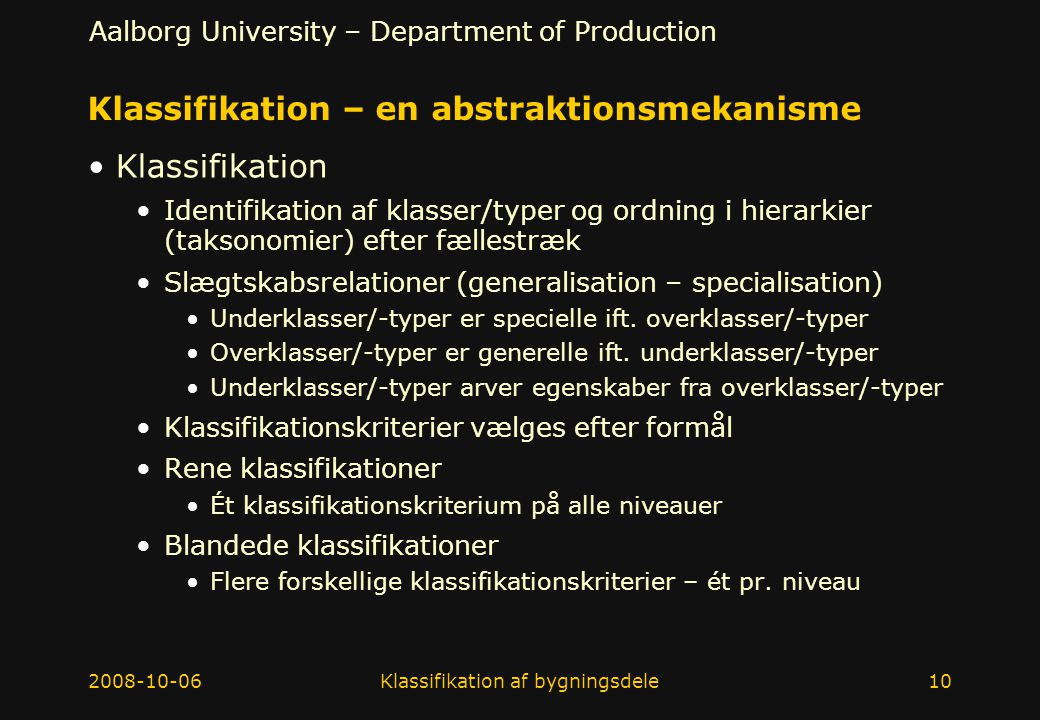 Klassifikation – en abstraktionsmekanisme
