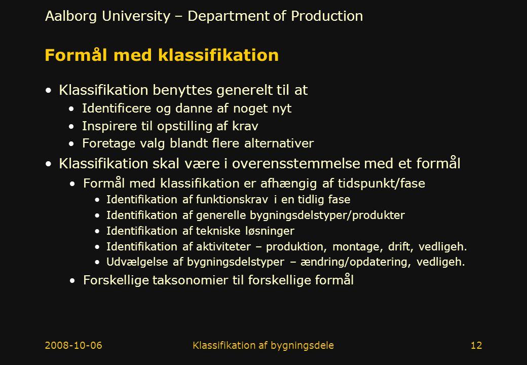 Formål med klassifikation