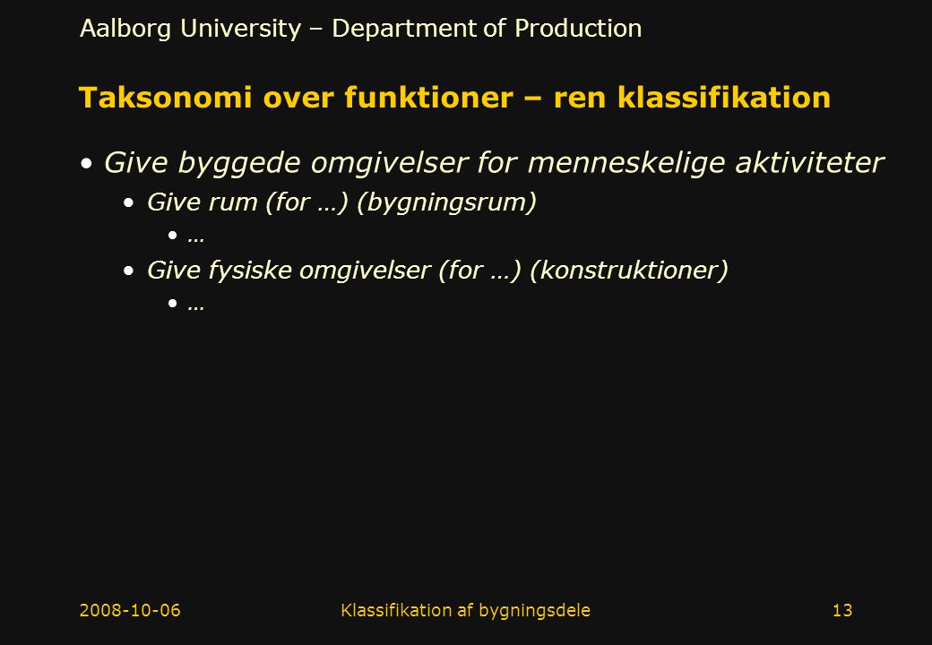 Taksonomi over funktioner – ren klassifikation