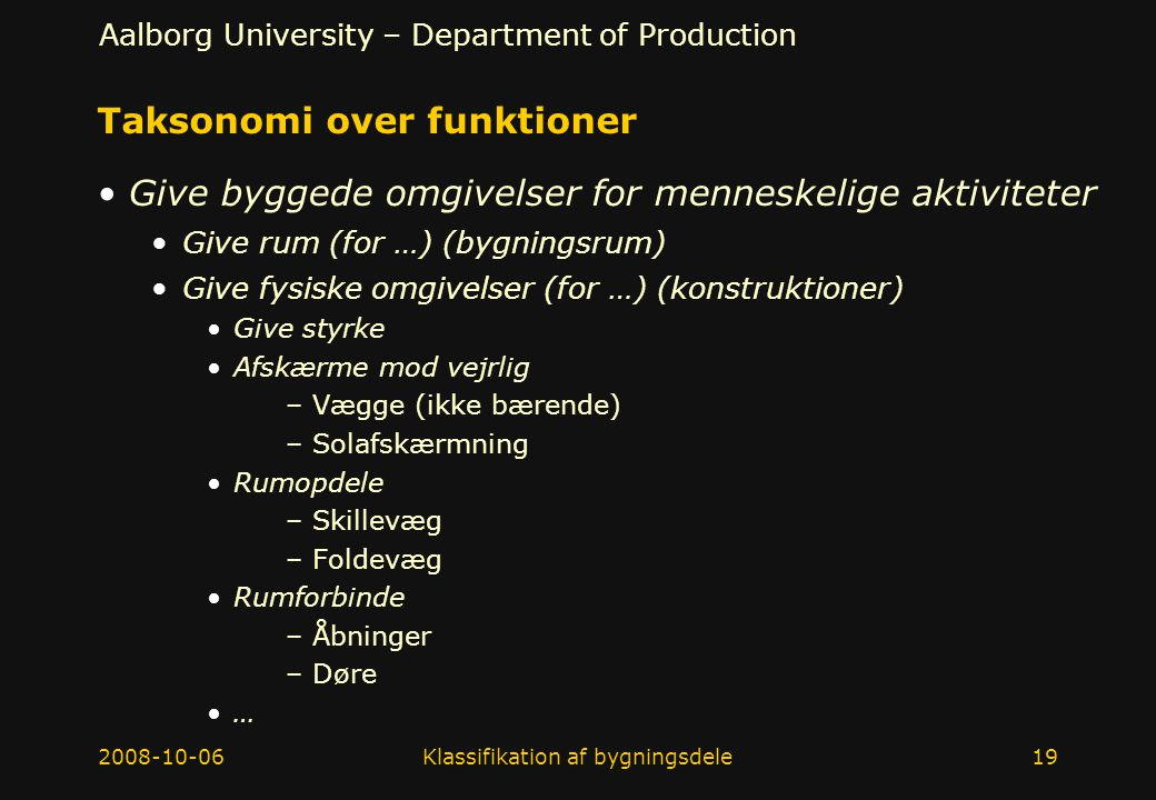 Taksonomi over funktioner