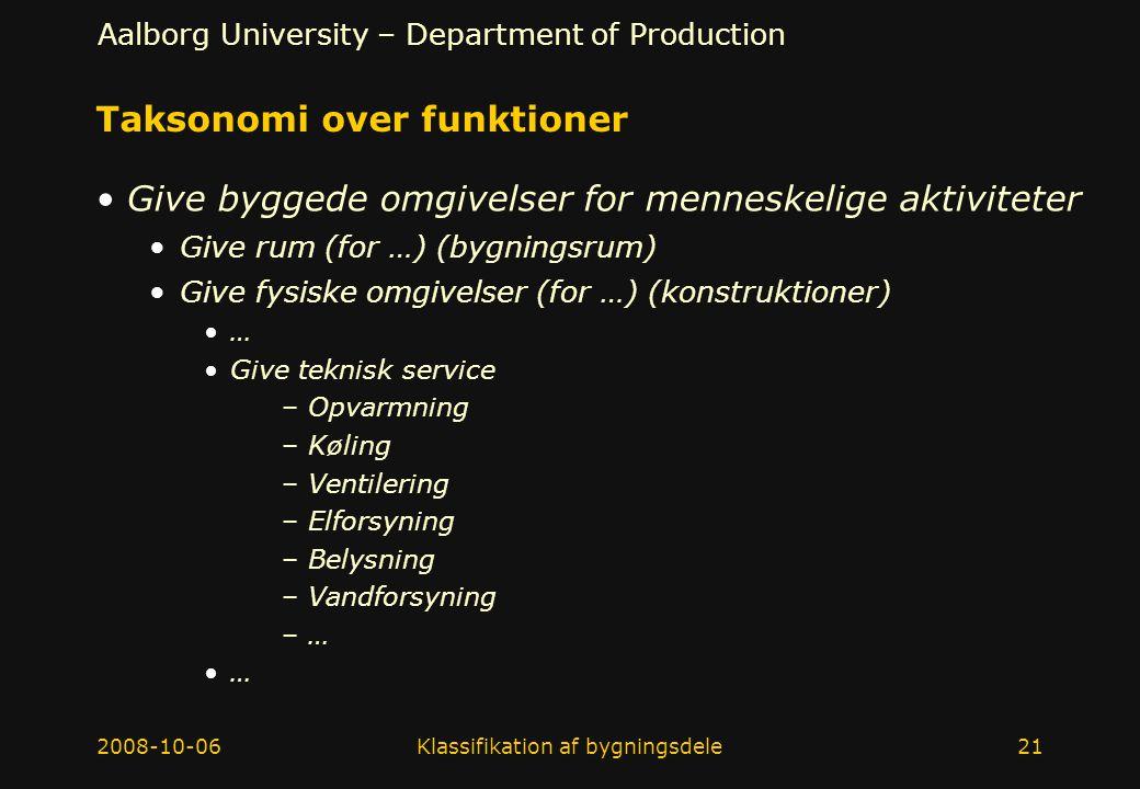Taksonomi over funktioner