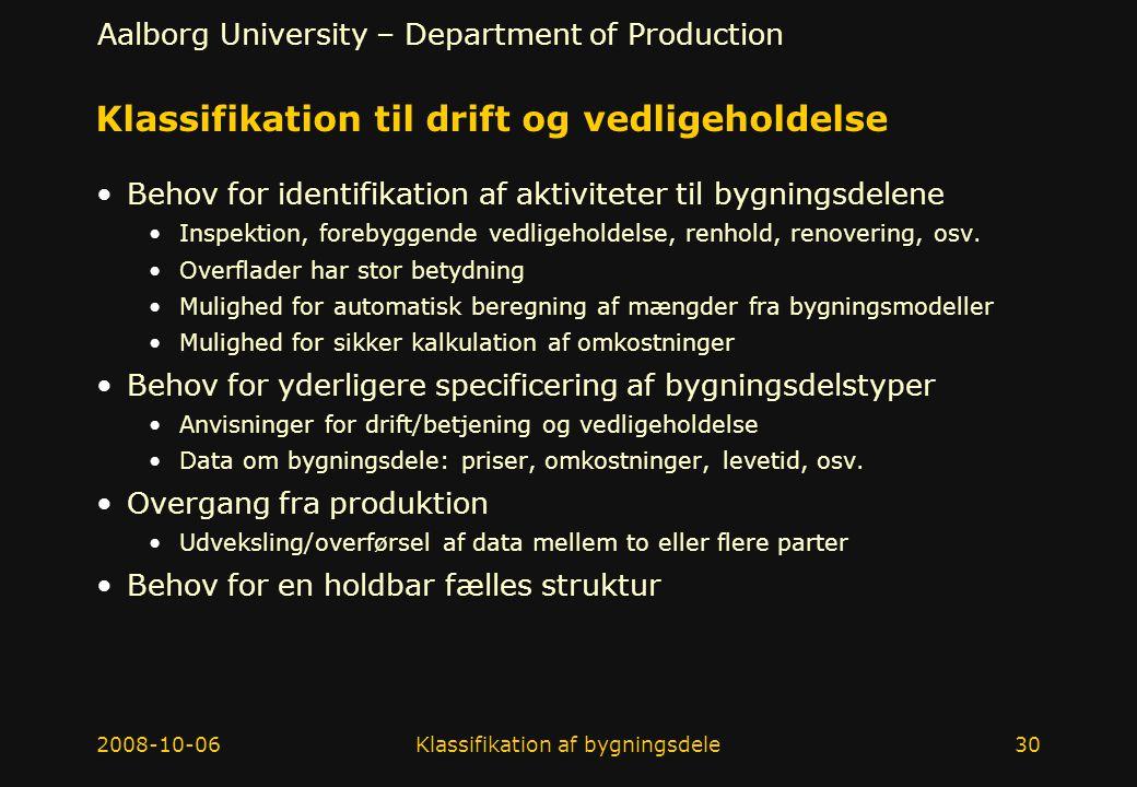 Klassifikation til drift og vedligeholdelse
