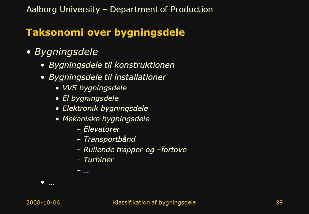 Taksonomi over bygningsdele
