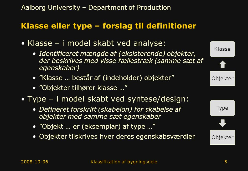 Klasse eller type – forslag til definitioner