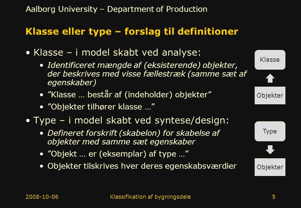 Klasse eller type – forslag til definitioner