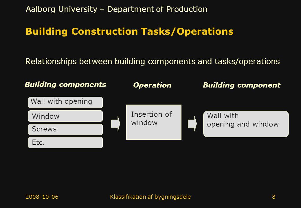 Building Construction Tasks/Operations