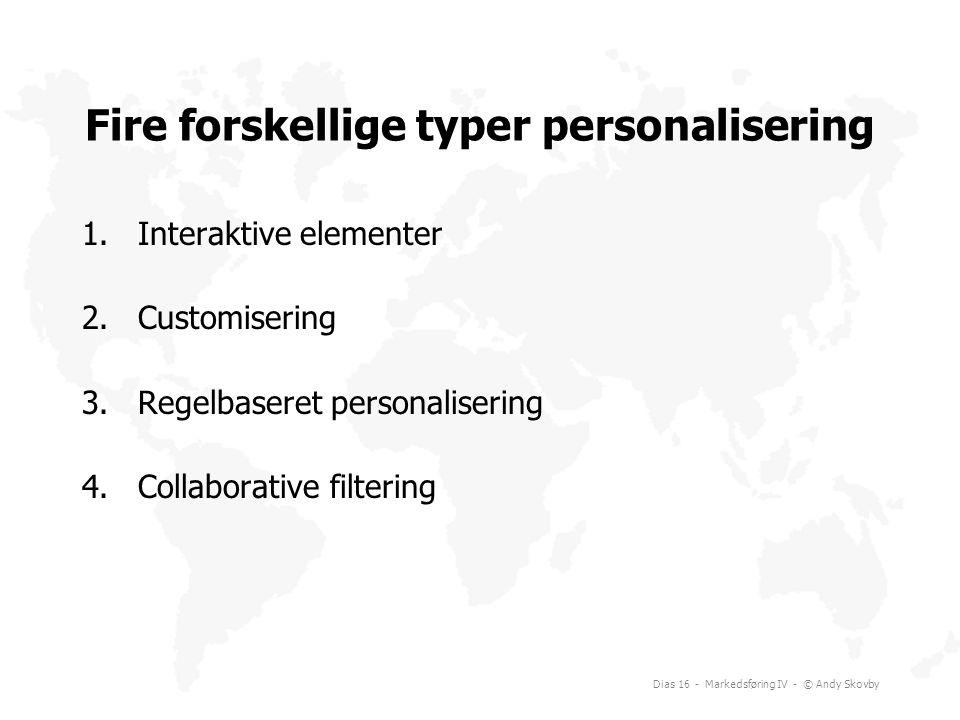 Fire forskellige typer personalisering