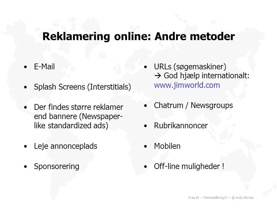 Reklamering online: Andre metoder