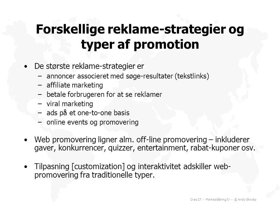 Forskellige reklame-strategier og typer af promotion