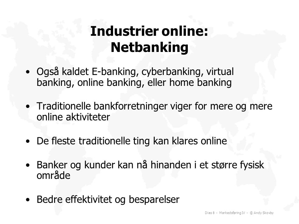 Industrier online: Netbanking