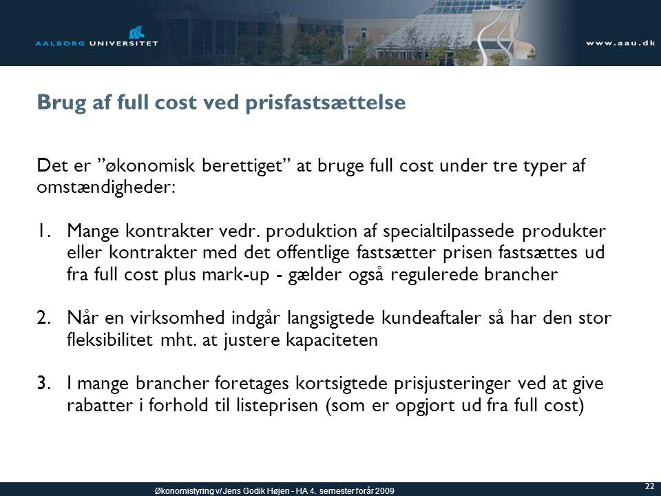 Brug af full cost ved prisfastsættelse