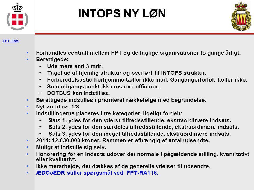 INTOPS NY LØN Forhandles centralt mellem FPT og de faglige organisationer to gange årligt. Berettigede: