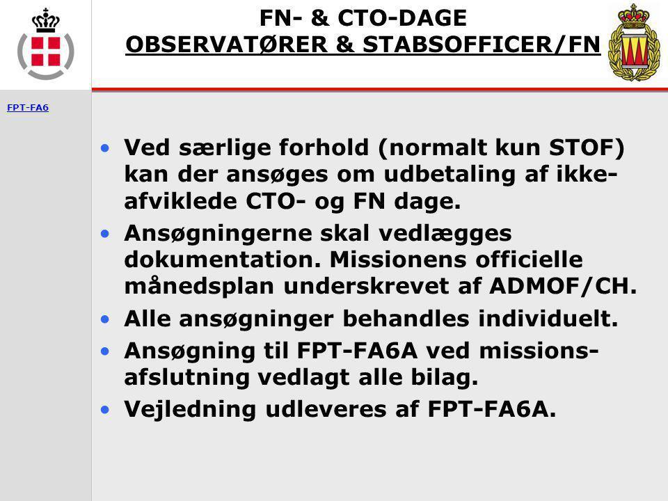 FN- & CTO-DAGE OBSERVATØRER & STABSOFFICER/FN