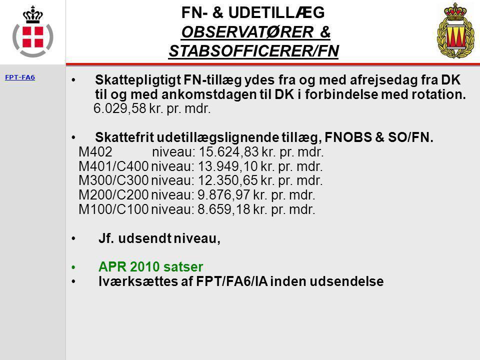 FN- & UDETILLÆG OBSERVATØRER & STABSOFFICERER/FN