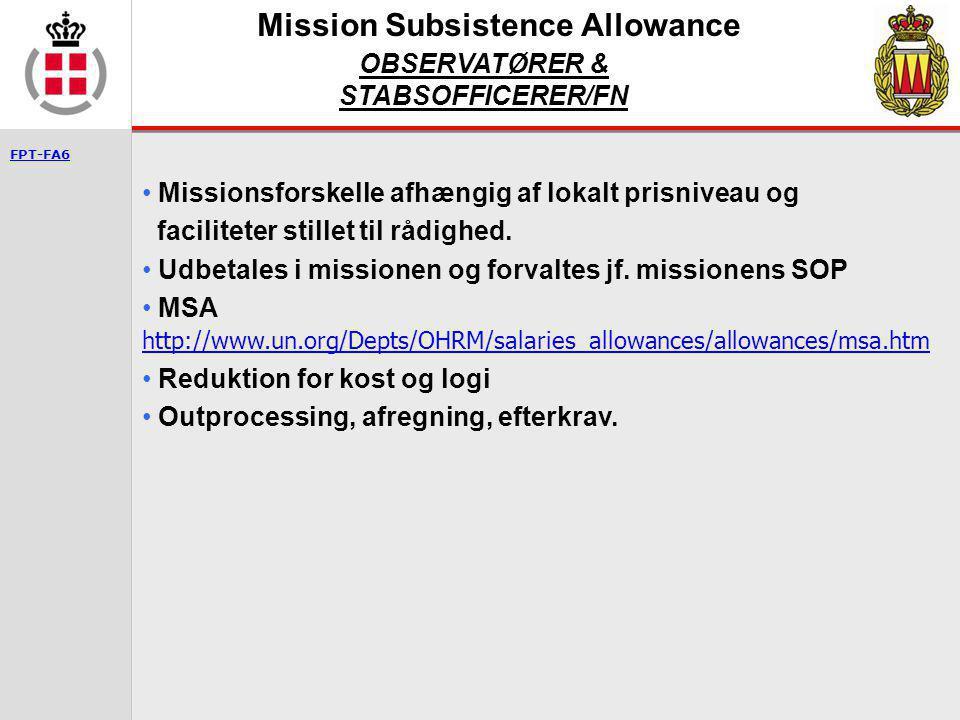 Mission Subsistence Allowance OBSERVATØRER & STABSOFFICERER/FN