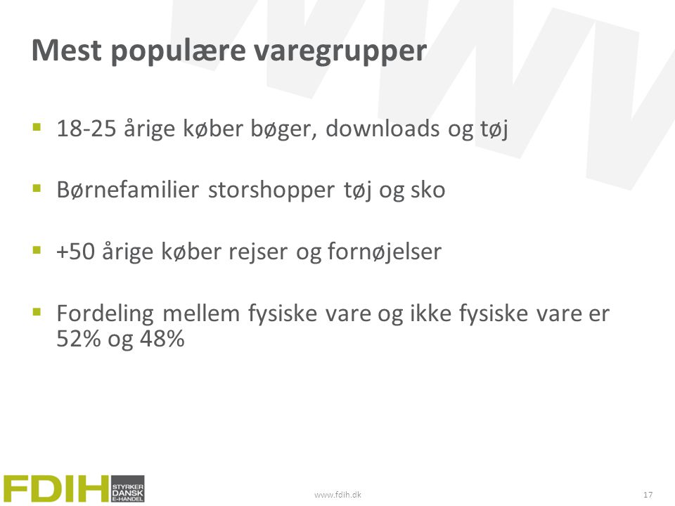 Mest populære varegrupper