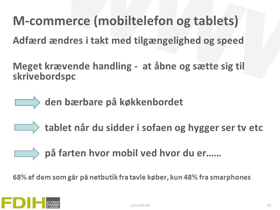 M-commerce (mobiltelefon og tablets)