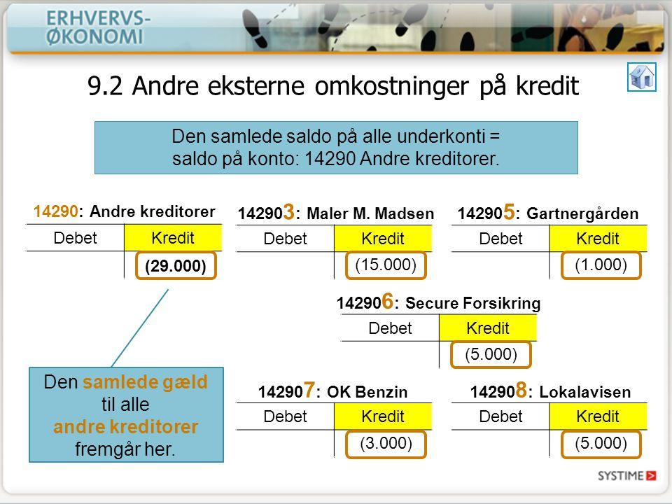 9.2 Andre eksterne omkostninger på kredit