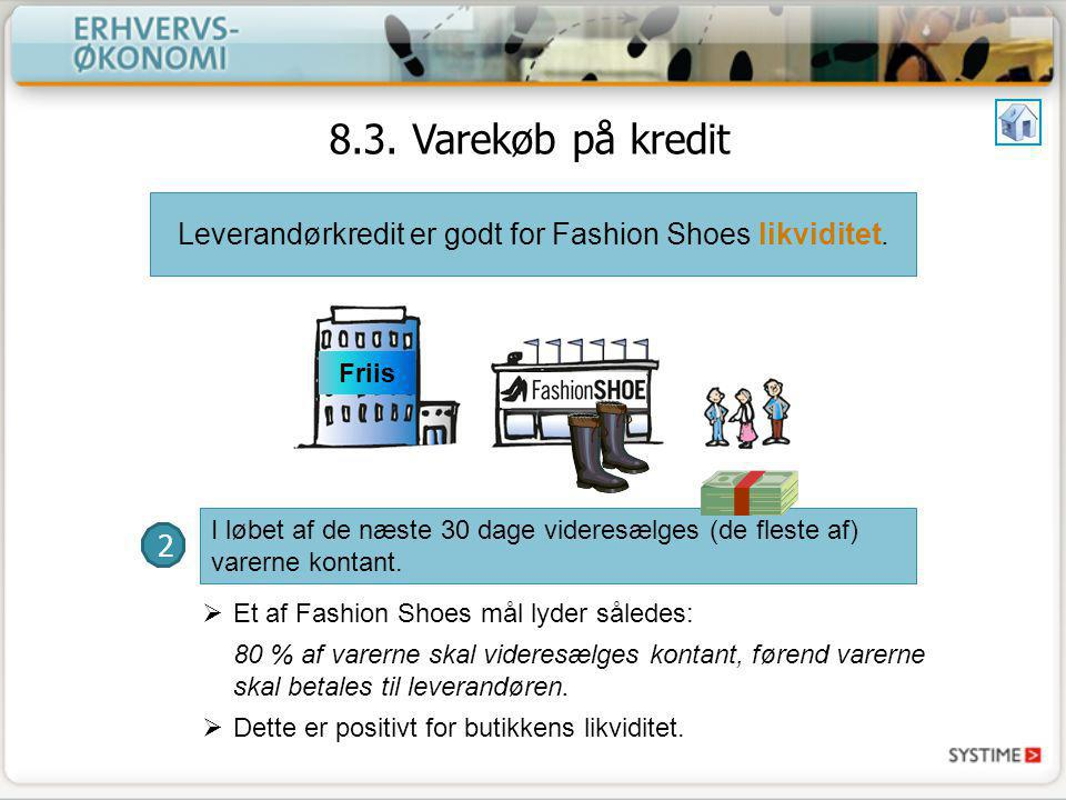 Leverandørkredit er godt for Fashion Shoes likviditet.