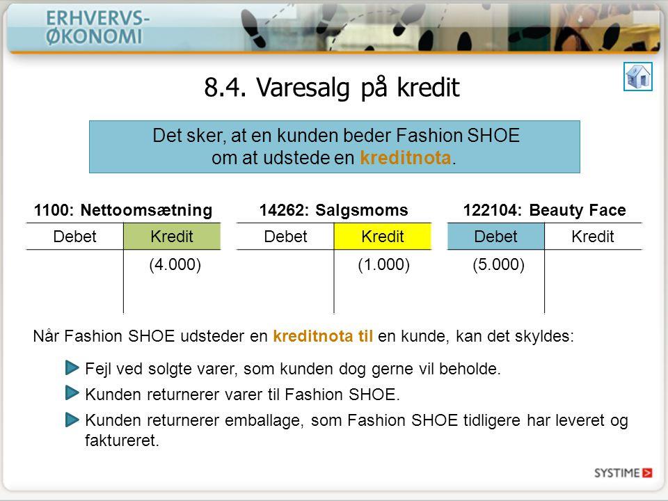 Det sker, at en kunden beder Fashion SHOE om at udstede en kreditnota.
