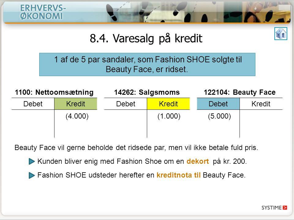 8.4. Varesalg på kredit 1 af de 5 par sandaler, som Fashion SHOE solgte til Beauty Face, er ridset.