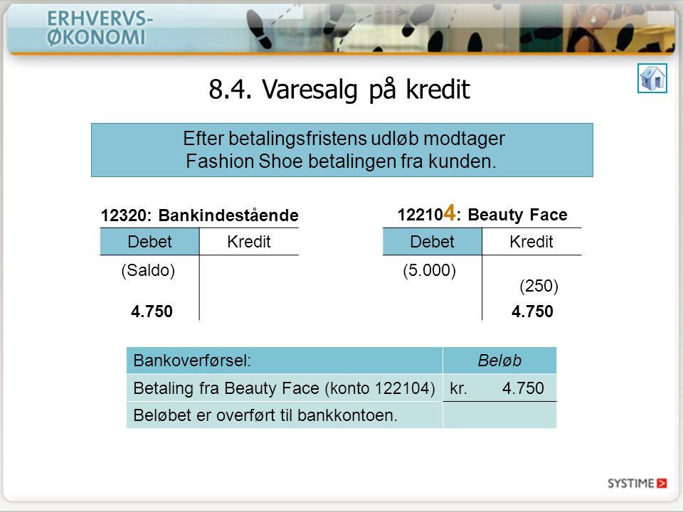 8.4. Varesalg på kredit Efter betalingsfristens udløb modtager Fashion Shoe betalingen fra kunden.