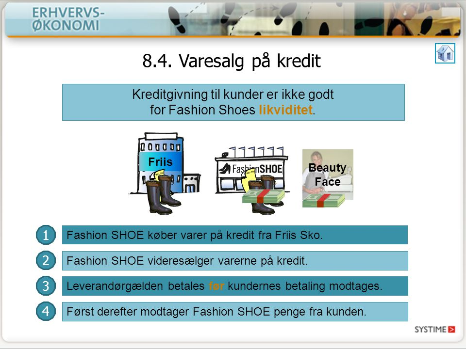 Kreditgivning til kunder er ikke godt for Fashion Shoes likviditet.