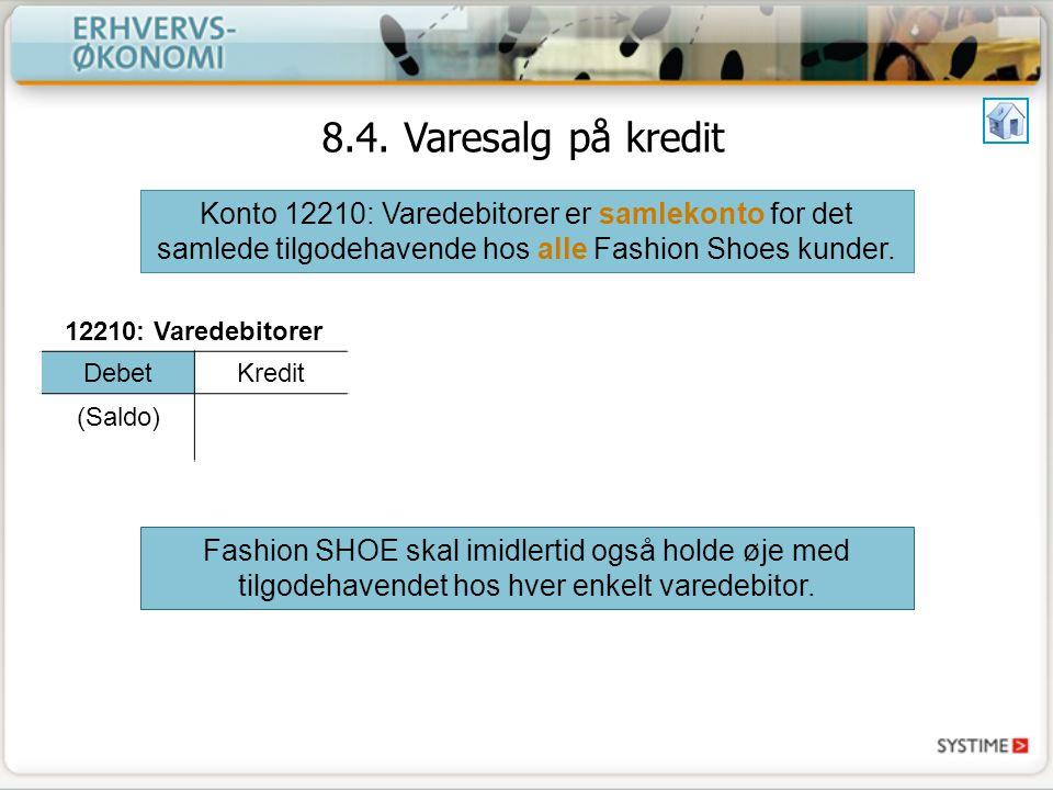 8.4. Varesalg på kredit Konto 12210: Varedebitorer er samlekonto for det samlede tilgodehavende hos alle Fashion Shoes kunder.