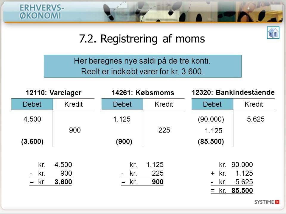 7.2. Registrering af moms Her beregnes nye saldi på de tre konti.
