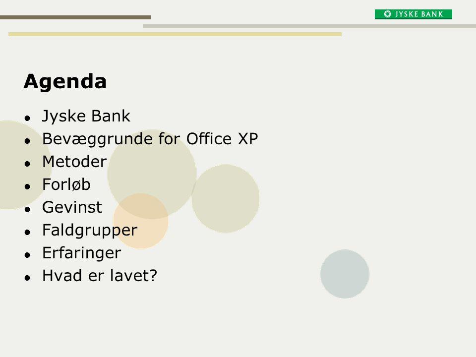 Agenda Jyske Bank Bevæggrunde for Office XP Metoder Forløb Gevinst