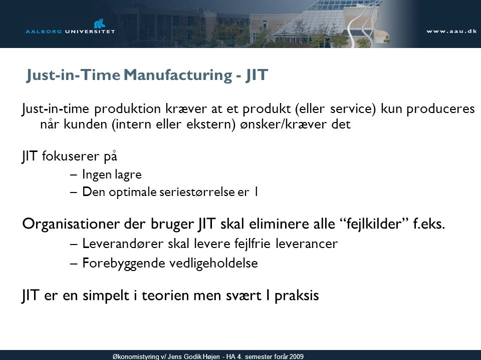 Just-in-Time Manufacturing - JIT