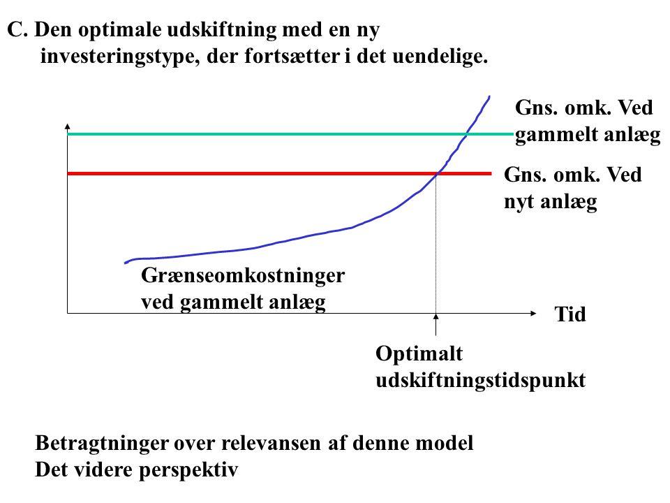 C. Den optimale udskiftning med en ny investeringstype, der fortsætter i det uendelige.