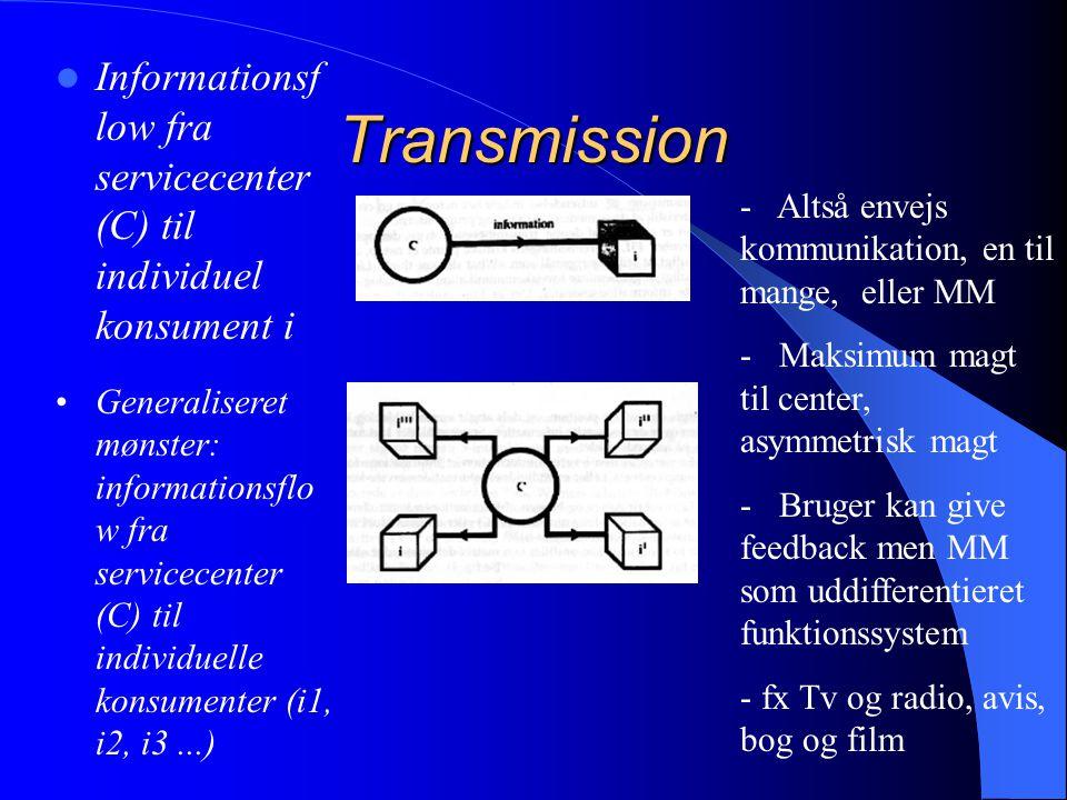 Informationsflow fra servicecenter (C) til individuel konsument i