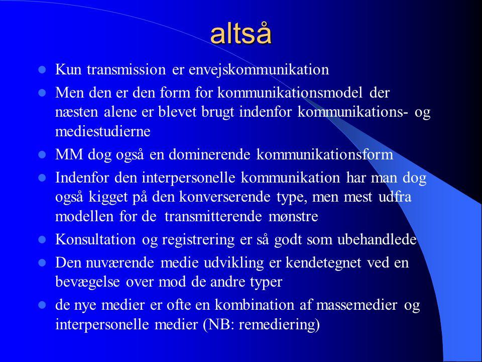 altså Kun transmission er envejskommunikation
