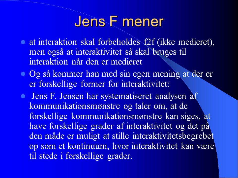 Jens F mener at interaktion skal forbeholdes f2f (ikke medieret), men også at interaktivitet så skal bruges til interaktion når den er medieret.