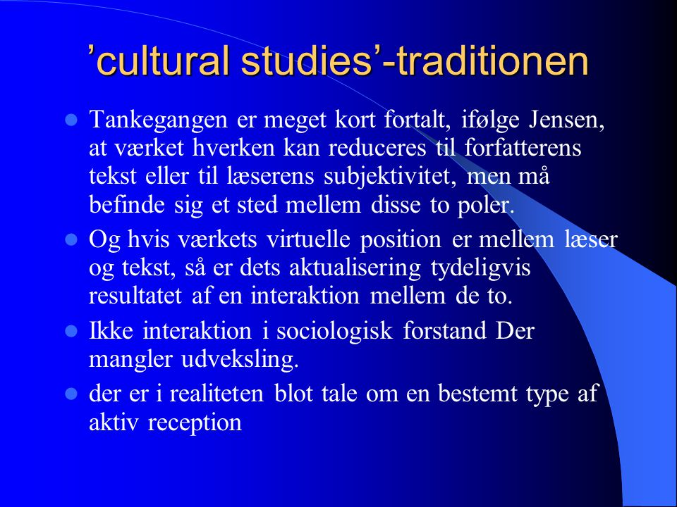 'cultural studies'-traditionen