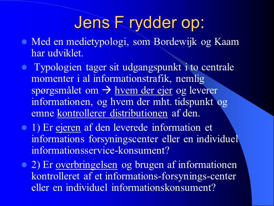 Jens F rydder op: Med en medietypologi, som Bordewijk og Kaam har udviklet.