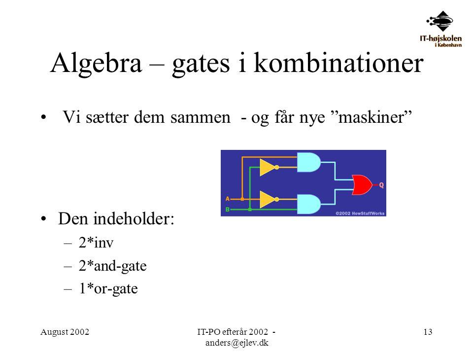 Algebra – gates i kombinationer