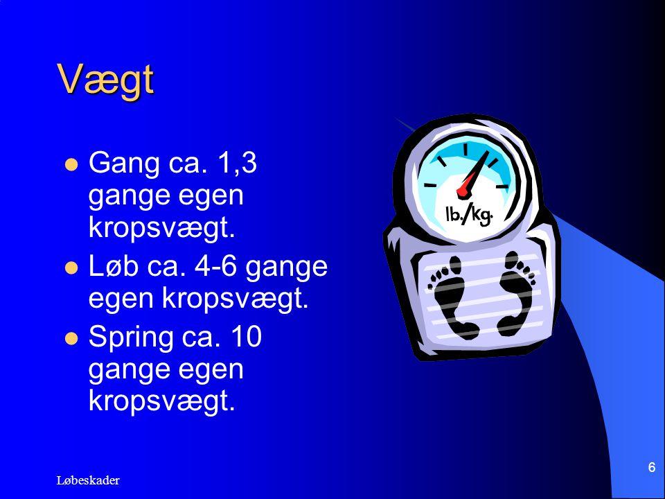 Vægt Gang ca. 1,3 gange egen kropsvægt.