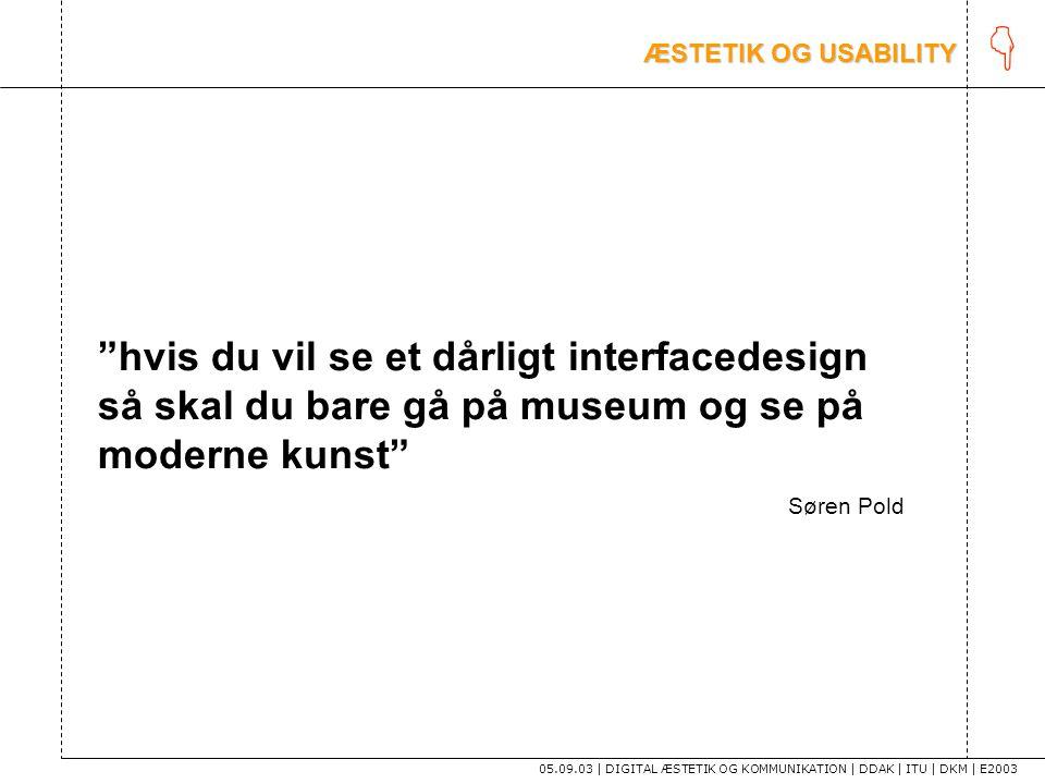 K ÆSTETIK OG USABILITY. hvis du vil se et dårligt interfacedesign så skal du bare gå på museum og se på moderne kunst