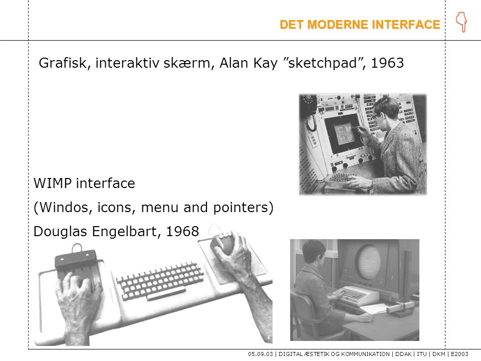 K Grafisk, interaktiv skærm, Alan Kay sketchpad , 1963 WIMP interface