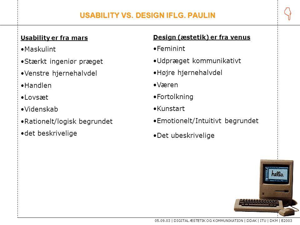 USABILITY VS. DESIGN IFLG. PAULIN