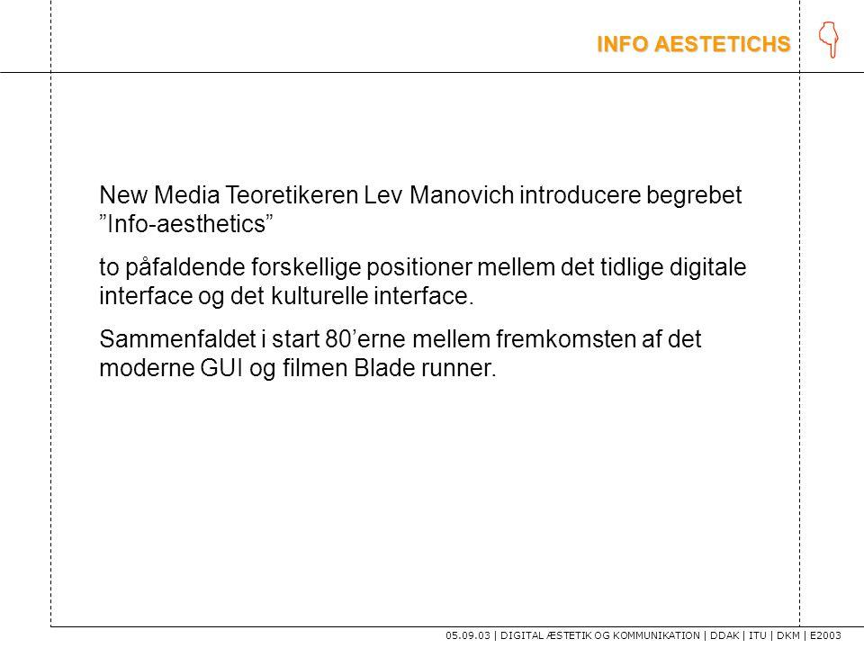 K INFO AESTETICHS. New Media Teoretikeren Lev Manovich introducere begrebet Info-aesthetics
